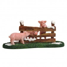 """Figurine """"Pigs at the Fench"""" - LUVILLE"""