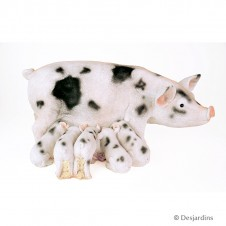 Truie et porcelets en résine - 30 cm - DESJARDINS
