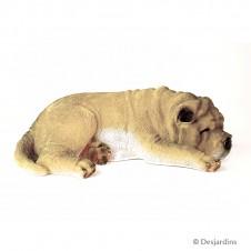 Chien Sharpei endormi en résine - 15 cm - DESJARDINS