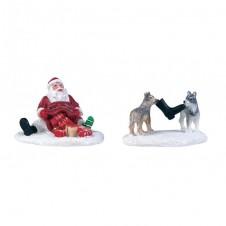 "Figurine ""Dogs Teasing Santa"" - LUVILLE"