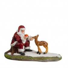 "Figurine ""Santa and Young Deer"" - LUVILLE"