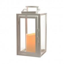 "Lanterne flamme ""métal blanc"" - 28 cm - LUMINEO"