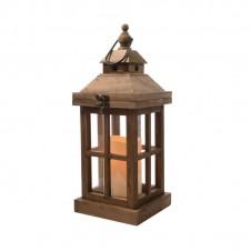 "Lanterne ""Flamme"" - bois clair - 36 cm - LUMINEO"
