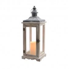"""Lanterne flamme """"bois"""" déco - 46 cm - LUMINEO"""