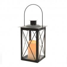 """Lanterne flamme """"métal"""" - 37 cm - noire - LUMINEO"""