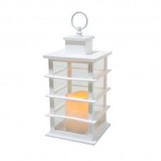 Lanterne flamme - 35 cm - blanche - LUMINEO