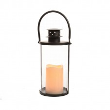 "Lanterne ""flamme"" ronde - 33 cm - noir - LUMINEO"