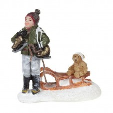 """Figurine """"Franck With Teddy on Sledge"""" - LUVILLE"""