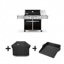"Pack barbecue gaz ""Summit E-670 GBS"" noir + housse + plancha - WEBER"