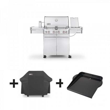 """Pack barbecue gaz """"Summit S-470 GBS"""" inox + housse de luxe + plancha - WEBER"""