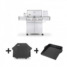 "Pack barbecue gaz ""Summit S-470 GBS"" inox + housse de luxe + plancha - WEBER"