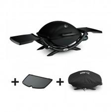 """Pack barbecue gaz """"Q2200"""" noir + plancha + housse - WEBER"""