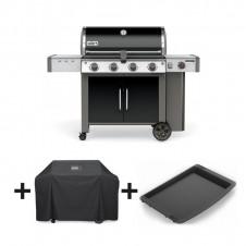"Pack barbecue gaz ""Genesis II LX E-440 GBS"" noir + plancha + housse - WEBER"