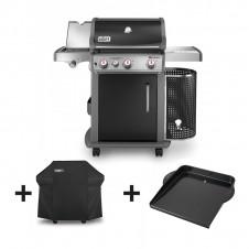 "Pack barbecue gaz ""Spirit Premium E-330 GBS"" noir + housse + plancha - WEBER"