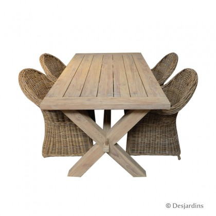 "Ensemble ""table en teck + 4 fauteuils"" - DESJARDINS"