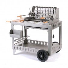 "Barbecue au charbon ""Mendy"" sur chariot - Inox - LE MARQUIER"