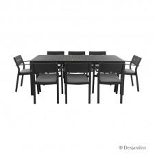 """Ensemble """"Cardiff"""" gris anthracite 1 table + 8 fauteuils - DESJARDINS"""