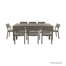 "Ensemble ""Cardiff"" marron 1 table + 8 fauteuils - DESJARDINS"