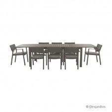 "Ensemble ""Cardiff"" marron 1 table extensible + 8 fauteuils - DESJARDINS"