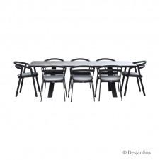 """Ensemble """"Liverpool"""" gris anthracite 1 table + 8 fauteuils - DESJARDINS"""