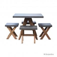 Ensemble table 90x90 + 4 tabourets - DESJARDINS