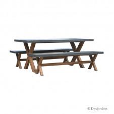 Ensemble table 180x90 + 2 bancs - DESJARDINS