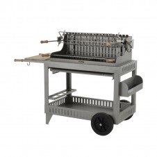 "Barbecue au charbon ""Irissarry"" sur chariot - Inox - LE MARQUIER"