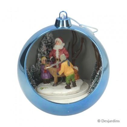 """Boule bleue """"Père Noël"""" - DESJARDINS"""