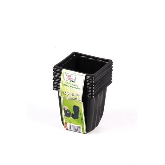 20 godets de germination noirs carrés - 7x7cm