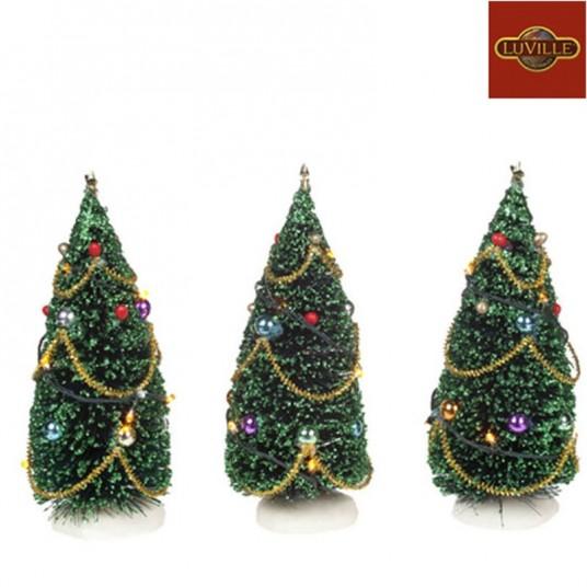Lot de 3 sapins de Noël décorés Luville