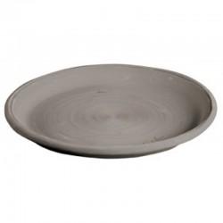 Soucoupe ronde Goicoechea terre cuite teintée gris - ø23cm