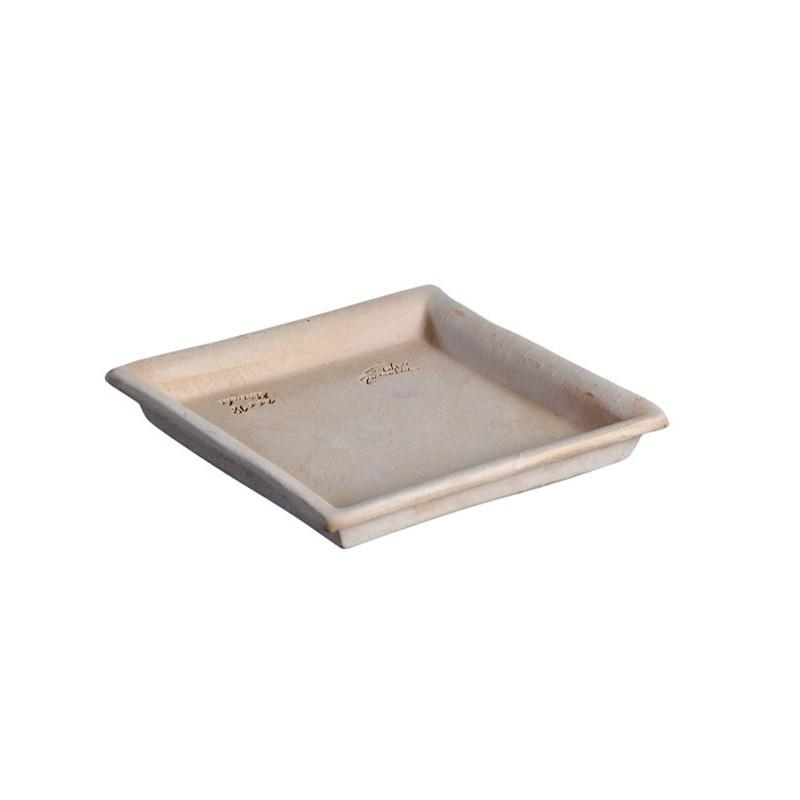 Soucoupe carrée Goicoechea terre cuite étanche - 18x18cm