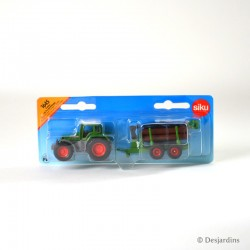 Tracteur avec remorque forestière - 1:87