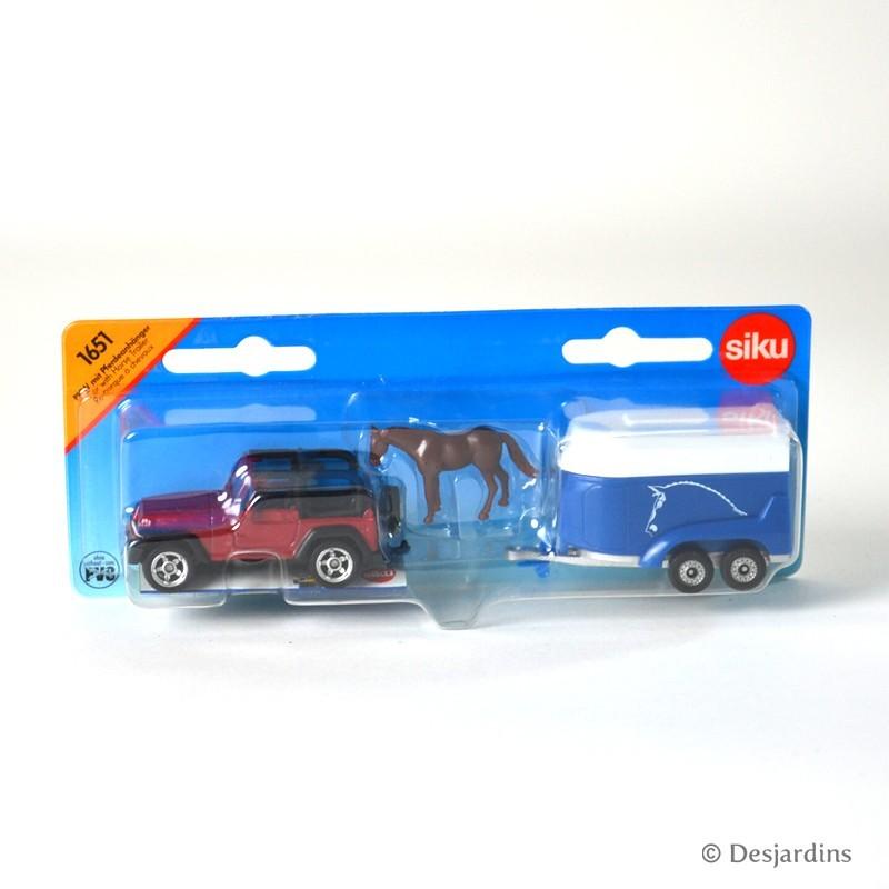 Jeep avec remorque à chevaux - 1:87