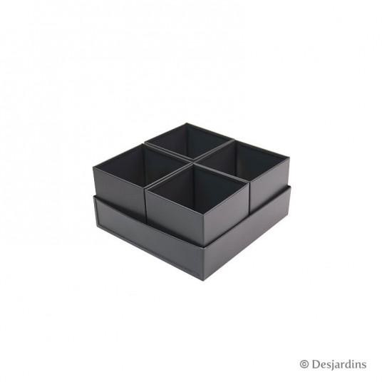 Ensemble 4 pots carrés - 16x16x8 cm - DESJARDINS