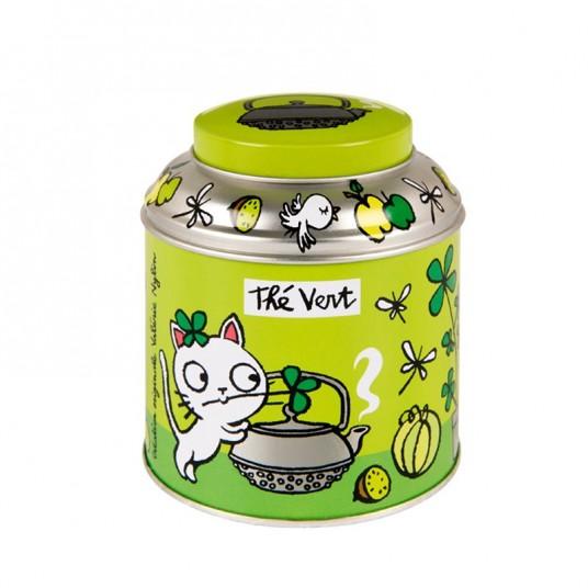 """Boîte à thé vrac """"T'es verte"""" verte - DLP"""