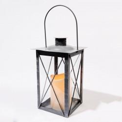 Lanterne LED en métal grise...