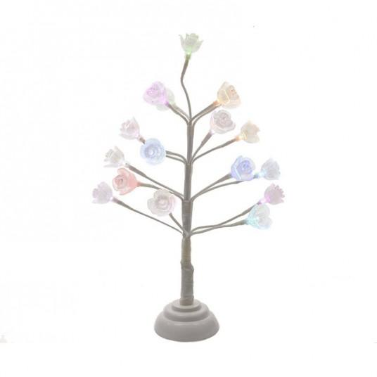 Arbre miniature lumineux avec fleurs - 40 cm - multicouleur - LUMINEO