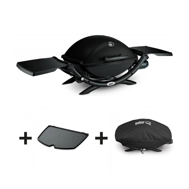 pack barbecue gaz q2200 noir plancha housse weber. Black Bedroom Furniture Sets. Home Design Ideas