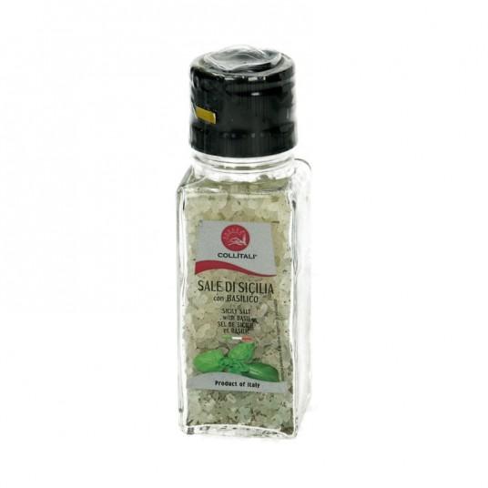 "Moulin ""sel vert de Sicile arôme basilic"" - 100g - COLLITALI"
