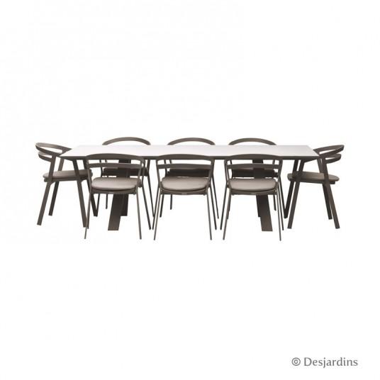 "Ensemble ""Liverpool"" marron 1 table + 8 fauteuils - DESJARDINS"
