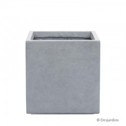 Pot carré en fibre gris...