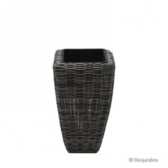 Pot carré conique en résine tressée - gris - 21x21x36 cm - DESJARDINS
