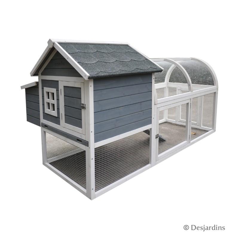 poulailler en bois 111 x 189 x 100 cm gris blanc desjardins. Black Bedroom Furniture Sets. Home Design Ideas