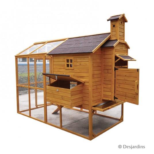 Poulailler en bois - 227 x 200 x 221 cm - marron - DESJARDINS