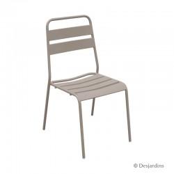 Chaise métal - Taupe -...