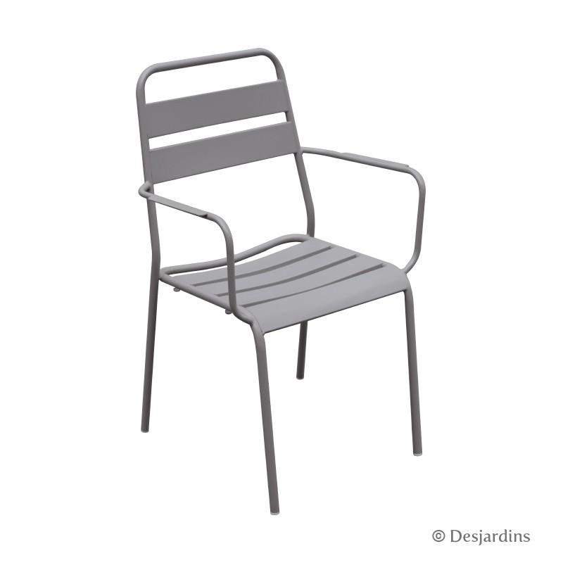 fauteuil m tal gris clair desjardins. Black Bedroom Furniture Sets. Home Design Ideas
