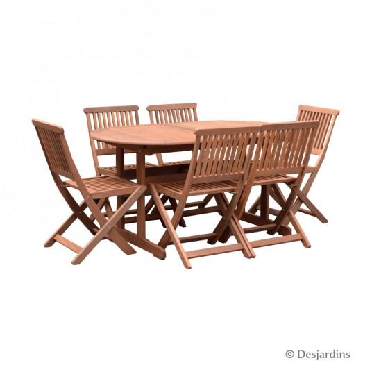 Ensemble table bois ovale 150/200x90 cm + 6 chaises - DESJARDINS
