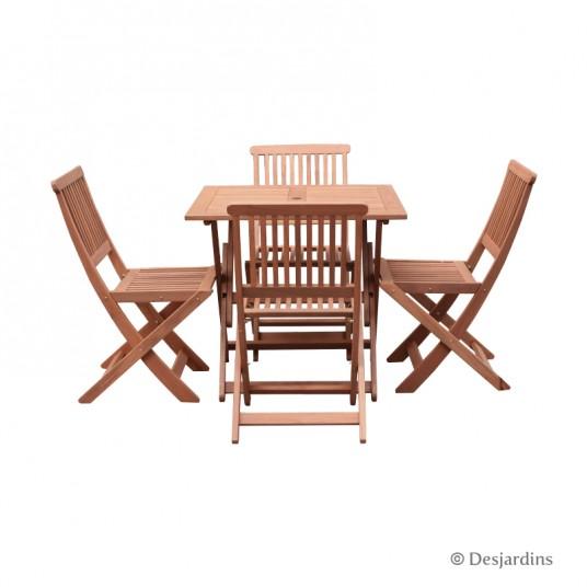 Ensemble table bois 80x80 cm + 4 chaises - DESJARDINS
