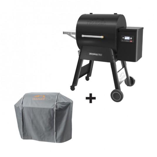 "Barbecue à pellets ""Ironwood 650"" noir + housse offerte - TRAEGER"